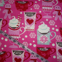 Winter Flannel fabric for Christmas gingerbread hot chocolate cotton quilt quilting sewing material to sew by the yard crafting project