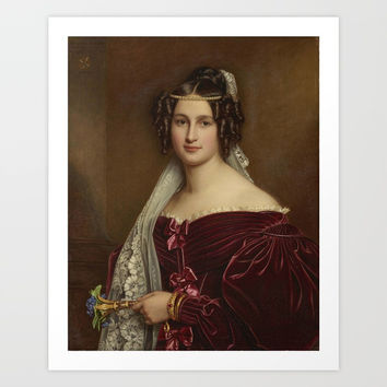 Portrait of Crescentia Bourgin by Joseph Karl Stieler Art Print by Asar Studios
