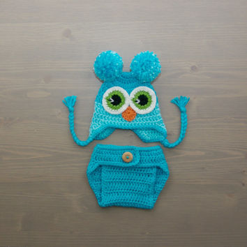 Crochet Owl Costume, Crochet Owl Set, Baby Owl Costume, Diaper Cover Set, Crochet Baby Hat, Blue Owl, Newborn Photography Prop, Photo Prop