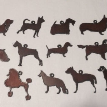 DOG BREED CHARMS - any 3  Pendants Basset Corgi Lab Dachshund Scottie Chihuahua Golden Poodle made of Rusty Rustic Recycled Metal