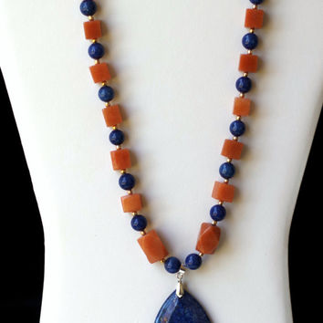 Unique Cobalt Blue Brown Necklace/ Lapis Lazuli Pendant/ Chunky Geometrical Statement Necklace/  Colorful Modern Jewelry