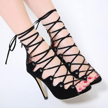 Sexy Chains Rope Sandals Strappy High Heel Gladiator Sandals Women Lace Up Ankle Strap