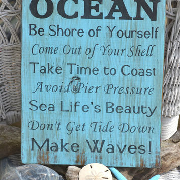 "Unique ""Advice from the OCEAN"" Beach Wooden Sign, Hand Painted, No Vinyl, Beach Art, Distressed Beach Sign"