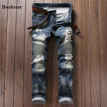 2017 New Fashion Men`s Distressed Jeans With Holes Acid Washed Vintage Casual Denim Pants Jeans For Men