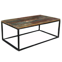 Iron and Mango Wood Coffee Table, Black with Color Block