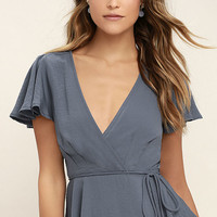 Modern Gal Slate Blue Wrap Top
