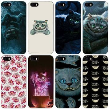 Alice in Wonderland Cheshire Cat Black Plastic Case Cover Shell for iPhone Apple 4 4s 5 5s SE 5c 6 6s 7 Plus