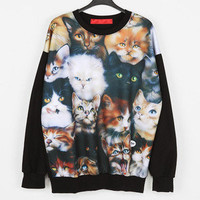 Cat Black Sweatshirt Sweater Sweats Pullover for Women Men Funky Rock Punk New