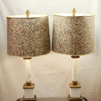 Sale Vintage Mid Century White Marble Hollywood Regency Table Lamps with Marbled Shades