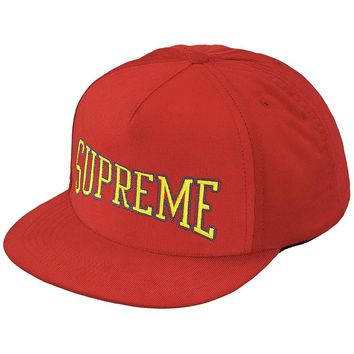 Dotted Arc 5-Panel Snapback Hat Red