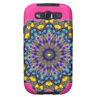 Kaleidoscope Flowery Pretty Pink Blue Yellow Gold Galaxy SIII Cover from Zazzle.com