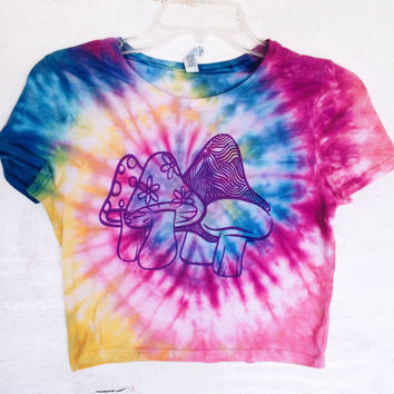 Mushroom Tie Dye Crop Top 70s Inspired Tumblr Rave Coachella Festival Fashion