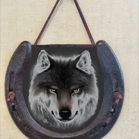 Rustic Wolf Horseshoe Wall Hanging, Wildlife Image, Perfectly Aged Patina, Leather Lace Accent, Mysterious Animal, Good Luck Western Decor
