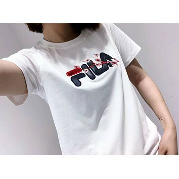 2018 Hot! FILA Popular Women Simple Plum Flowers Embroidery Designs T-Shirt Top White I-A-ALCLFS