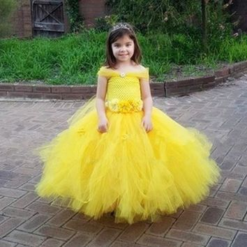 Belle Princess Tutu Dress Girls Tulle Party Wedding Flower Girl Dresses Yellow Kids Halloween Beauty Beast Cosplay Dress Costume