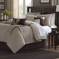 California King Size 7 Piece Bed In A Bag Comforter Set In Beige Brown