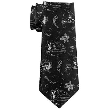 Dinosaur Dino Bones Fossil Pattern All Over Neck Tie