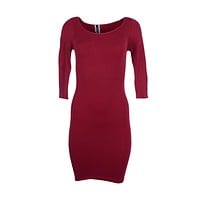 Sexy Seamless Solid Scoop Neck 3/4 Sleeve Tunic Tight Stretch Mini Dress Onesize