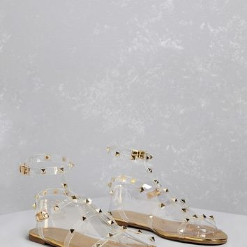 Studded Jelly Strap Sandals