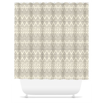 Cream African Mud Cloth Shower Curtain