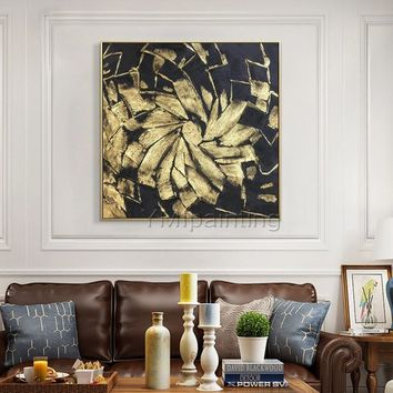 Modern abstract Original Gold and black wall art Paintings on canvas acrylic painting extra large wall art hand-painted home decor quadro