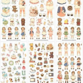 6Pcs/Pack New 2017 Cute Creative Stickers Paper Girl Combination Paper Doll Mate Stationery Sticker H0128 TIAMECH