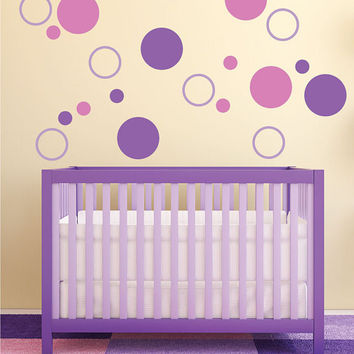 "Circles kids room vinyl wall decal graphic set 22""x22"" Sheet Home Decor"