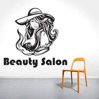 Wall Decal Vinyl Sticker Decals Beauty Salon Make Up Girl Woman Makeup Eyes Face Lips Fashion Cosmetic Hairdressing Hair Home Decor Bedroom Art Design Interior NS308