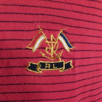 Ralph Lauren Turtleneck Vintage 1980s Shirt R L Polo Red Stripe Flags Nautical Medium