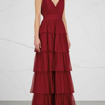 Alice + Olivia Gianna bordeaux tiered silk chiffon gown
