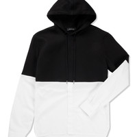 White/Black Hoodie/Shirt Hybrid Top