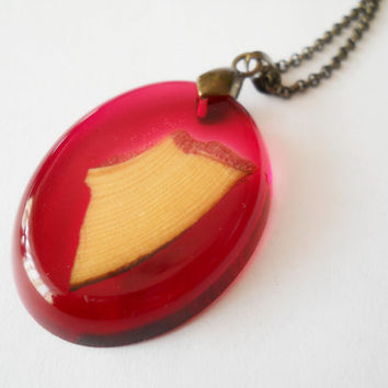 Red pendant, wood and resin necklace, resin jewelry,  unique necklace, wooden jewelry, wood resin fusion, pine wood pendant, red resin