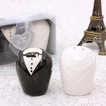 2pcs/Set Wedding Gift Souvenirs For Guest Bride and Groom Dress Design Ceramic Seasoning Cans Salt Pepper Shaker Spice jar P20