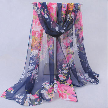 Spring 2017 New Nice Scarves & Wraps Vntage Blue Chiffon Silk a Scarf flowers Fashion Cotton For Woman Free Shipping XQ041