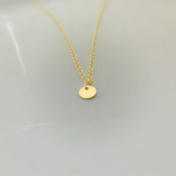 Tiny Disc Necklace - Gold Disc - Plain Tag - Dainty - Gold Necklace - Engravable - Circle Necklace - Gift for her