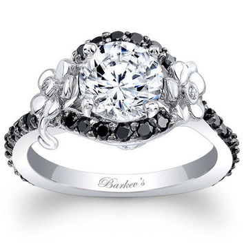 Barkev's Floral Detailed Black Diamond Halo Engagement Ring