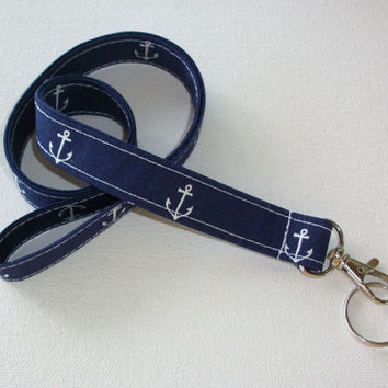 Lanyard  ID Badge Holder - Anchors - Lobster clasp and key ring - navy blue white