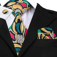C-1215 Mens Tie Pocket Square Cufflinks Yellow Green Red Floral Silk Ties For Men Suits Print Neck Ties Sets Gravatas Corbatas