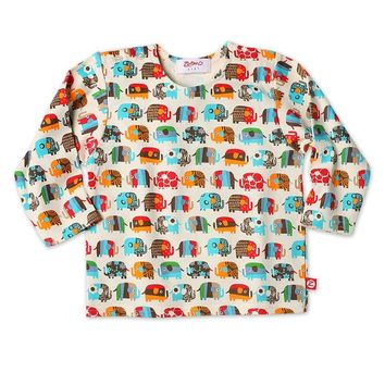 Zutano Elephant Parade Long Sleeve Infant Tee Shirt 6-12 months