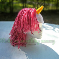 Crochet unicorn hat. Girl Mohawk hat. Crochet horse hat. Adult and child sizes.