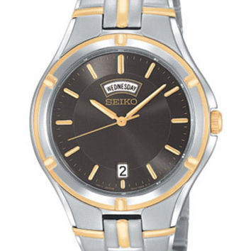 Seiko Mens Day/Date Watch - Black Dial - Stainless & Gold Tone - Bracelet