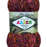 Alize SUPERLANA MAXİ MOSAİC Yarn - Pack of 5 skeins / balls /. Free Shipping