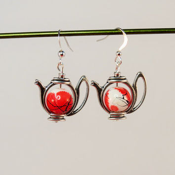 Teapot Earrings With Red Mottled Drawbench Glass Beads on Silver Plated Ear Wires