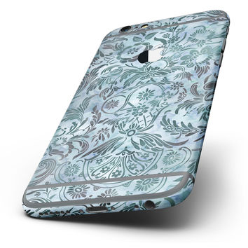 The Blue-Green Damask Watercolor Pattern Six-Piece Skin Kit for the iPhone 6/6s or 6/6s Plus