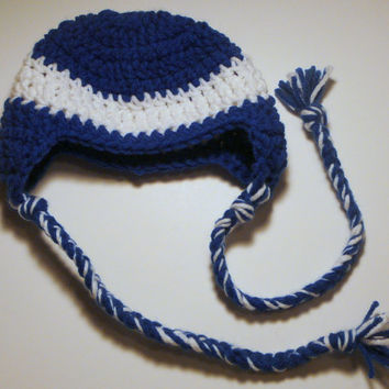 Hat - Blue and White - 0-3 M