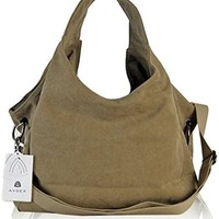Womens Pure Color Hobo Canvas Handbag Shoulder Bag
