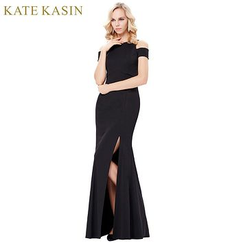 Kate Kasin Long Black Evening Dresses 2017 Sexy Tank Sleeveless High Slit Formal Dress Long Prom Evening Gowns Robe de Soiree