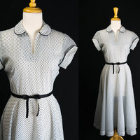 Vintage 40s 50s Polka-dot Lucy Dress White and Navy Adorable Swing Skirt Cuffed Sleeves