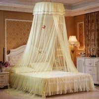 ONE LIKE YOU Elegant Round Lace Hanging Bedding Mosquito Net Dome Top Princess Bed Canopy Netting Curtain