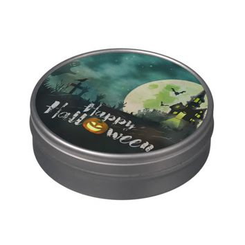 Spooky Haunted House Costume Night Sky Halloween Jelly Belly Tins